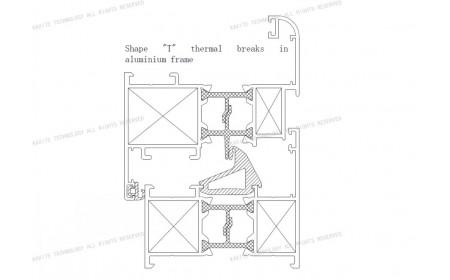 Uf 2,5 K / m2K Form T thermische Brüche | Lösungen für Fensterrahmen aus Aluminium